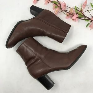 Naturalizer Brown Leather Mid Calf Boots Ankle 7 M